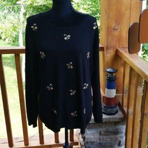 Iconic charter club black bee sweater